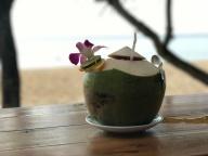 Cocktail serviert in Kokosnuss - himmlisch
